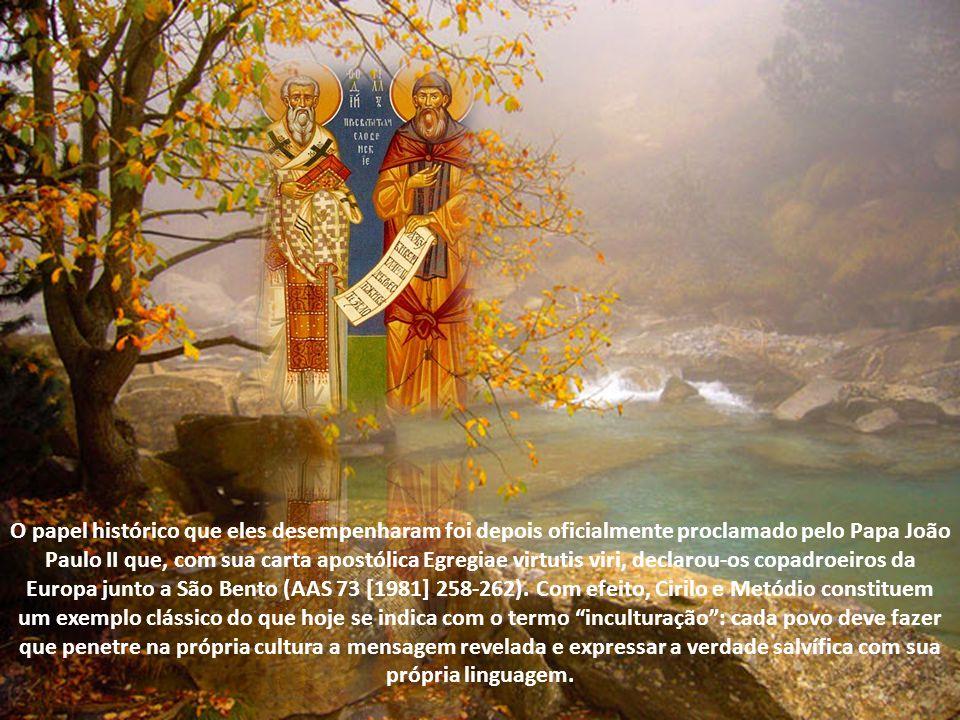 O papel histórico que eles desempenharam foi depois oficialmente proclamado pelo Papa João Paulo II que, com sua carta apostólica Egregiae virtutis viri, declarou-os copadroeiros da Europa junto a São Bento (AAS 73 [1981] 258-262).